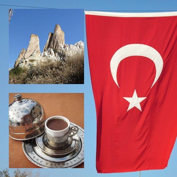 Tuerkei Bildergalerie, türkischer Mokka, Felslandschaft, türkische Fahne